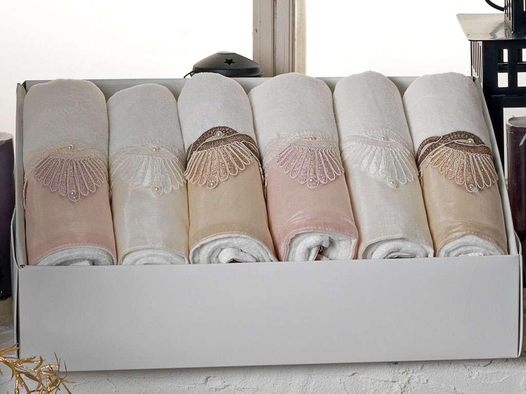 Fransız Güpürlü 50x90 Kadife Havlu Kübra Anna Karina