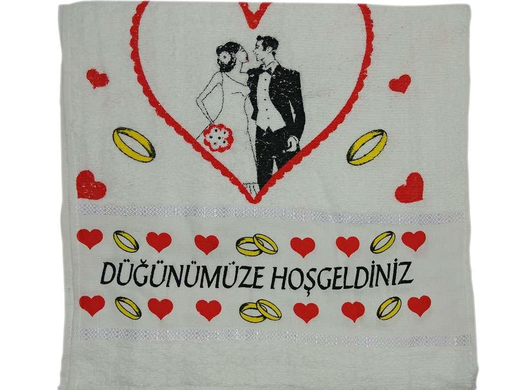 12'li Düğün Havlusu Baskılı  Gelin Damat 50x80 Düğünümüze Hoşgeldiniz