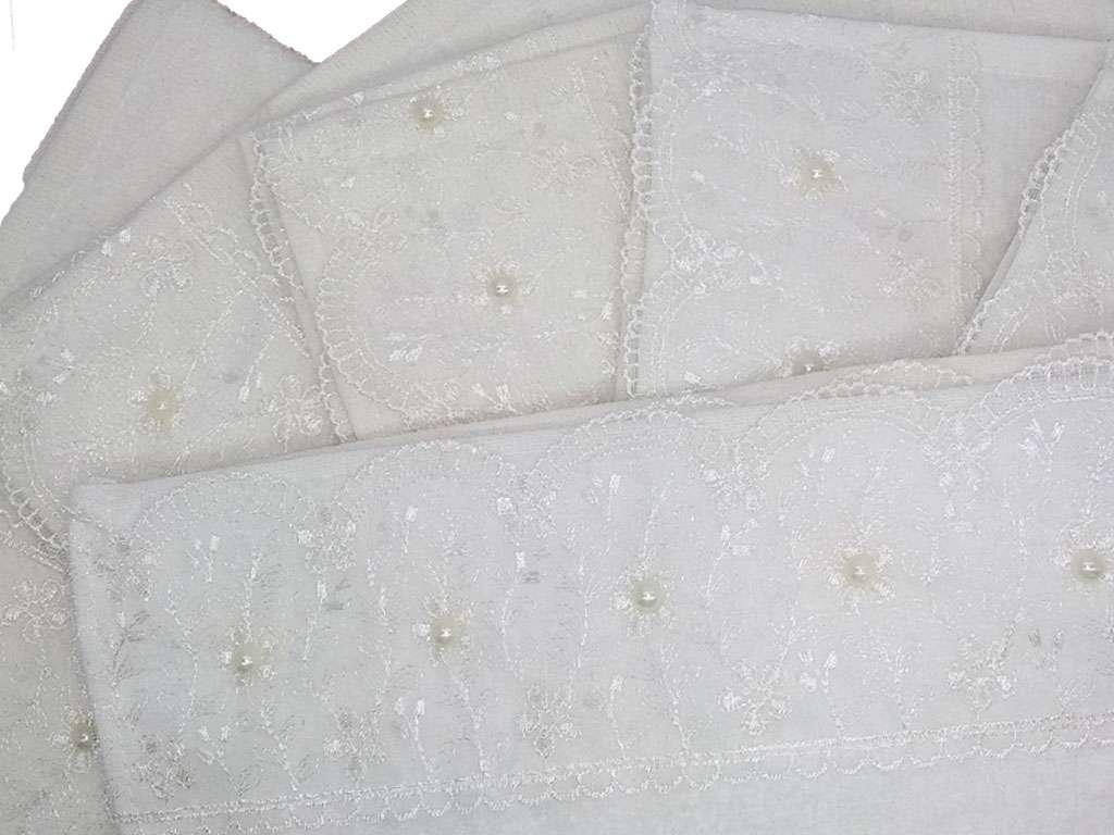 12'li Geniş Fransız Güpürlü Kadife  30*50 Beyaz Havlu