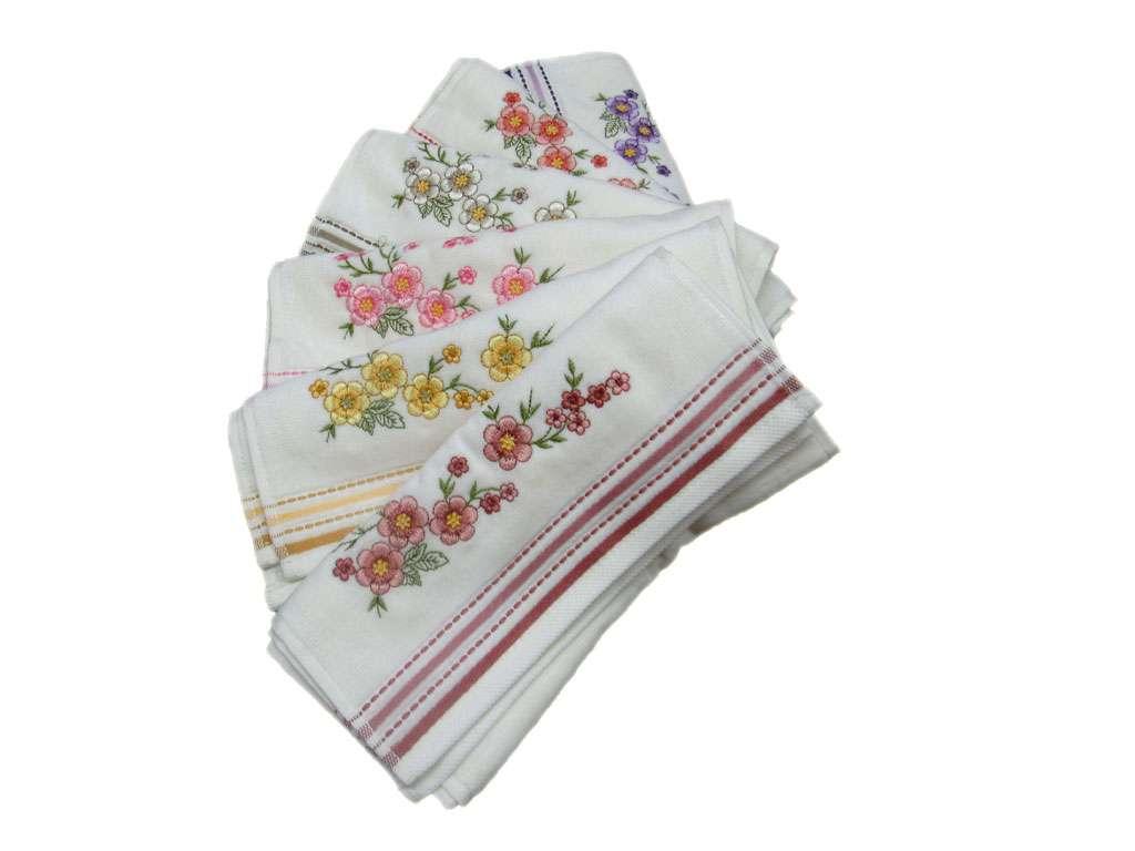 12'li Gonca Kadife Köşe Nakışlı Mutfak-Mevlüt Havlusu 3 çiçek