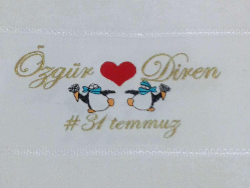 İsme Özel Tasarımlı Düğün Havlusu 50x80 Özgür