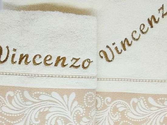 İsme Özel Havlu  2'li Baş ve Duş Havlusu Set Vincenzo