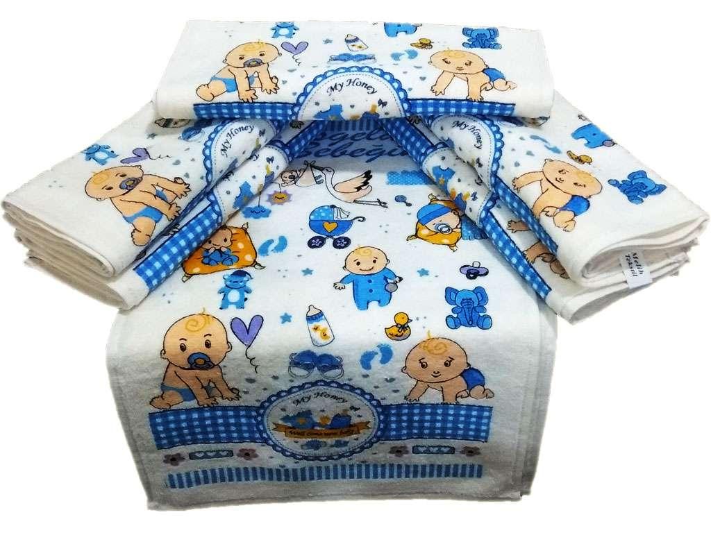 12li 30*50 Kadife Baskılı Mutfak Havlusu Bebek Havlusu Mavi