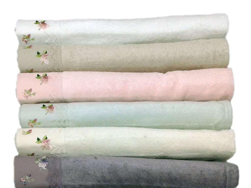 12'li Dantela Dantelli Nakışlı 50*90 Renkli Bambu Havlu