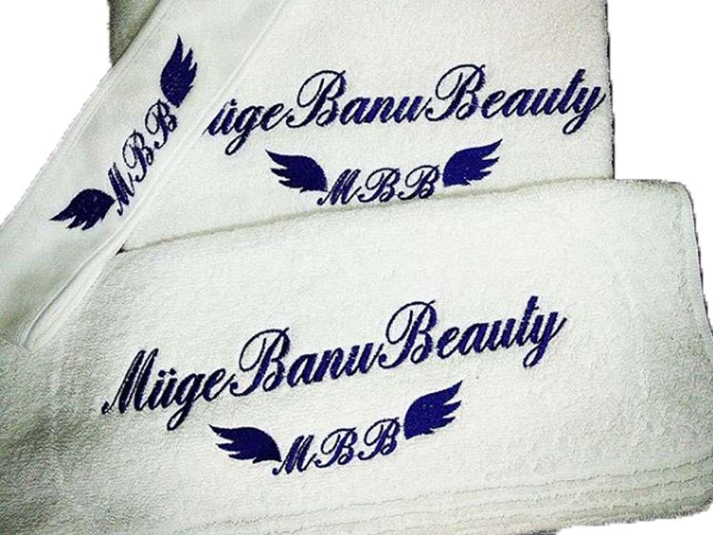 Kurumsal Havlu Logo Nakışlı Özel Tasarım 50x90 Müge Banu Beauty