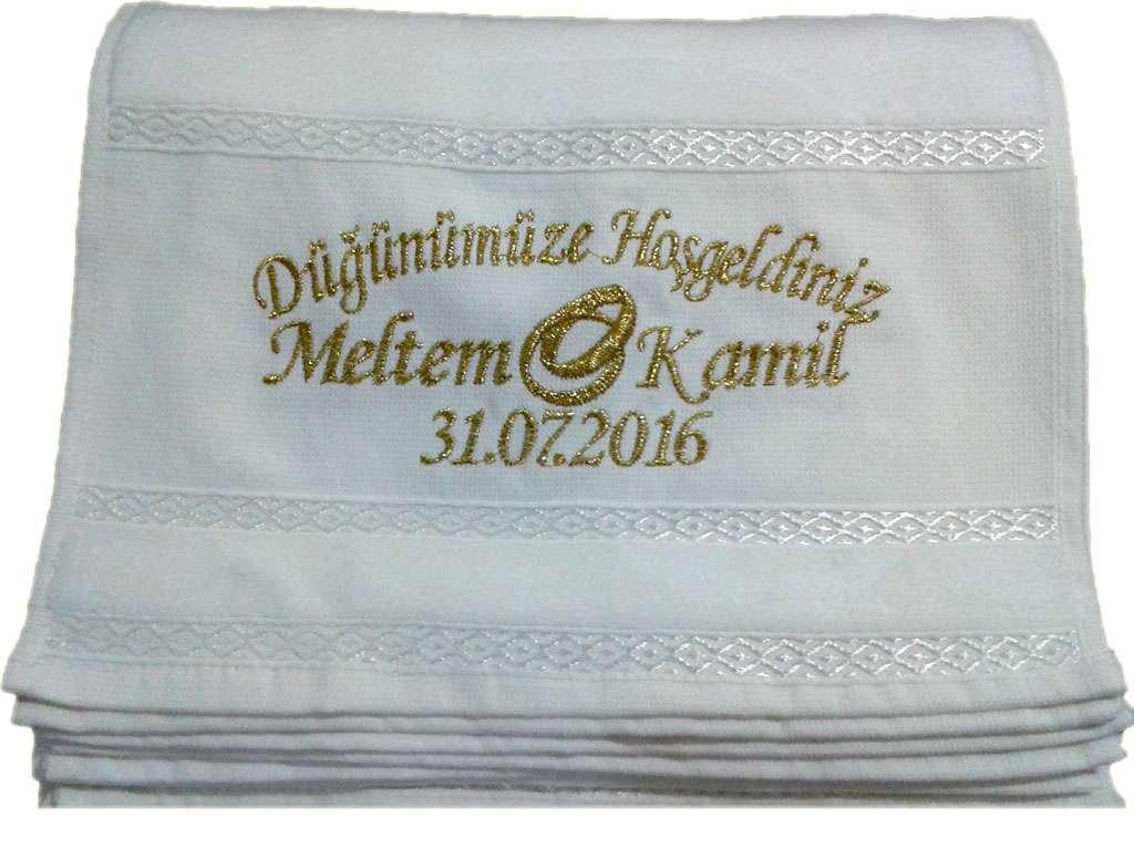 İsme Özel Tasarımlı Düğün Havlusu 30x50 Kadife Fiesta Havlu Meltem