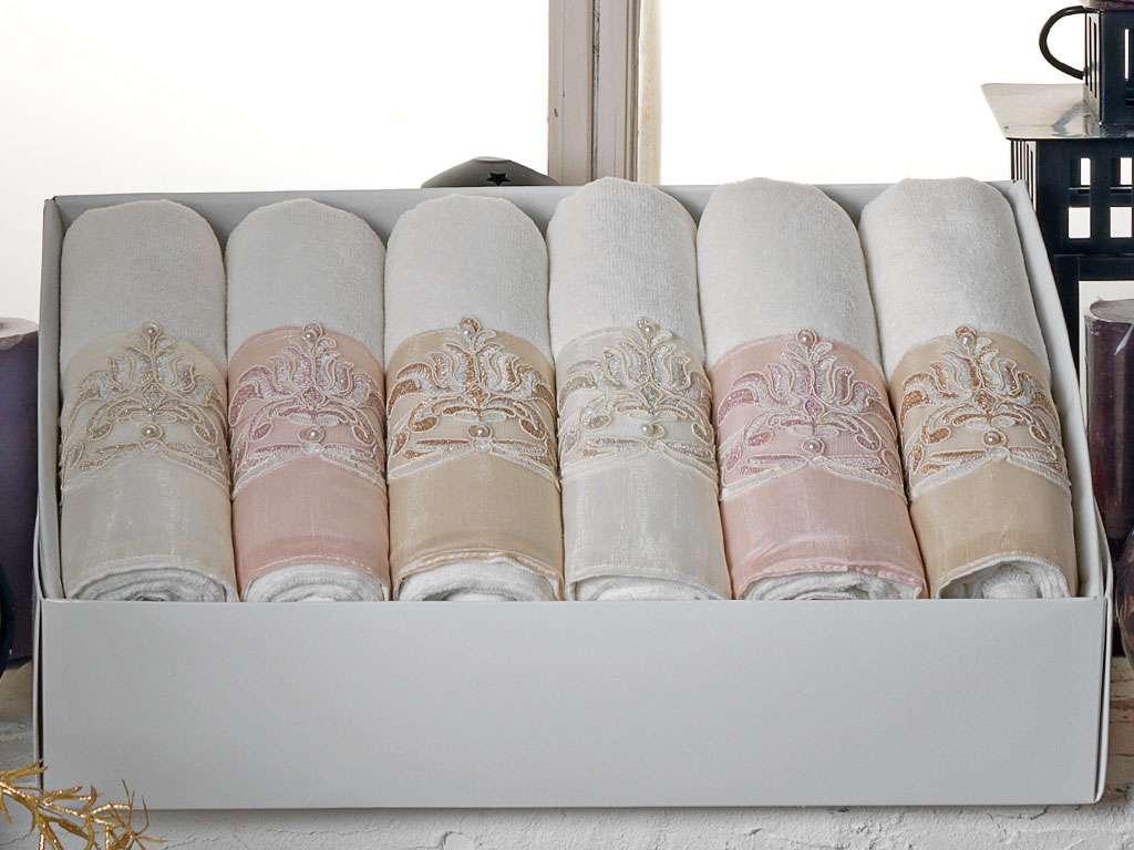 Fransız Güpürlü 50x90 Kadife Havlu Ebru Anna Karina