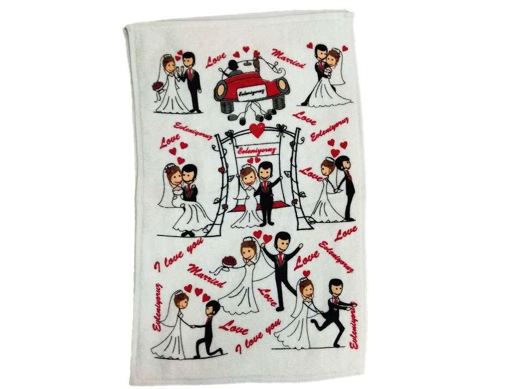 12li 30*50 Kadife Baskılı Mutfak Havlusu Düğün