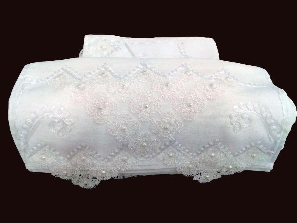 12'li Osmanlı İğne Oyalı 50x90 Kadife Çeyizlik Havlu Krem Krem
