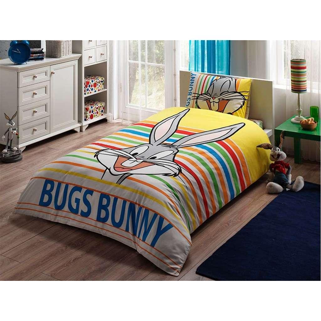 Taç Lisanslı Buggs Bunny Striped Nevresim Takımı