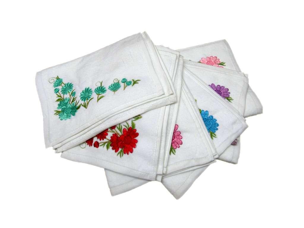 12li Fiesta Kadife Soft Nakışlı Mutfak Havlusu çiçek