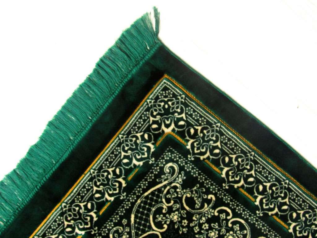 Seccade Yeşil Renginde Kabe Desenli Ultra Lüks Kadife Hediyelik Seccade