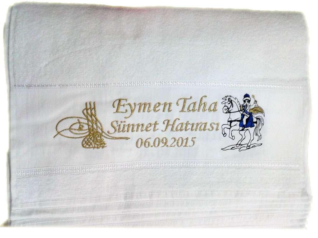 Sünnet Dağıtmalık Kişiye Özel İsim Yazılı 50x80 Nakış Yazılı Havlu Eymen