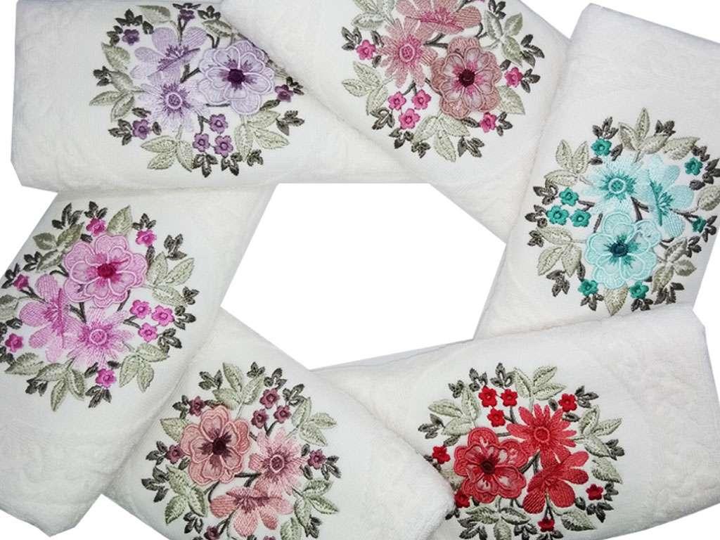 12'li Şaheser Beatrice Serisi 3D Çiçek Nakışlı 50*90 El Yüz Havlusu