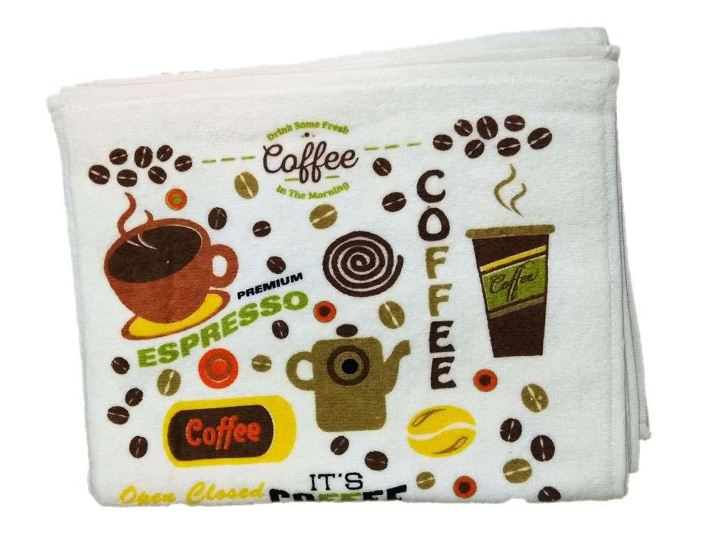 12li 30*50 Kadife Baskılı Mutfak Havlusu Kahve