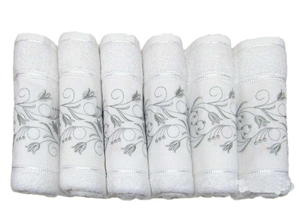 12'li Osmanlı Ekonomik Gümüş Nakışlı El Yüz Havlusu Çiçek