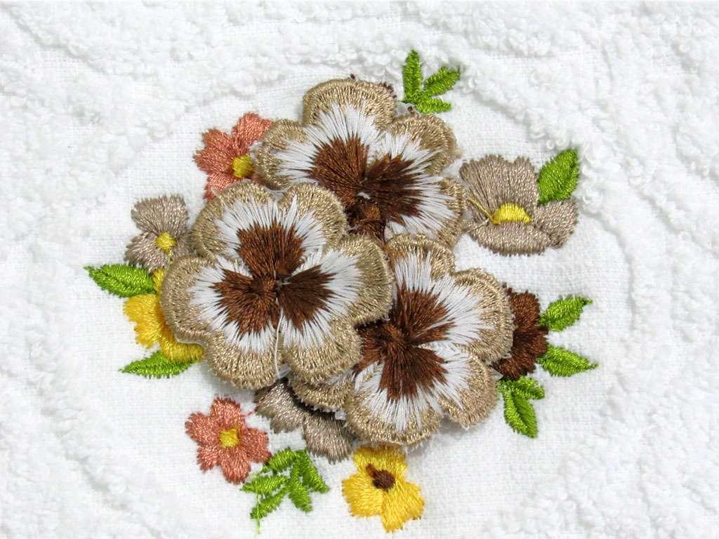 6'lı Şelale Kadife 3 Boyutlu Çiçekli 50*90 Havlu