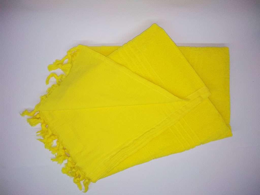 Havlu Peştemal Saçaklı %100 Penye Pamuk 80x180 Sarı