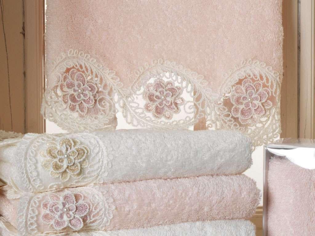 3D Çiçek Figürlü Fransız Güpürlü 50*90 Bamboo Havlu Alara Anna Karina