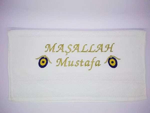 İsim Yazılı 30x50 Sünnet Havlusu Dağıtmalık Hediye Tek Kat Maşallah Mustafa