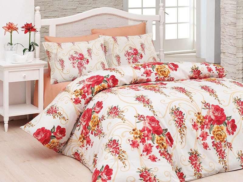 Nevresim Takımı Belanay Çift Kişilik Floral Kırmızı
