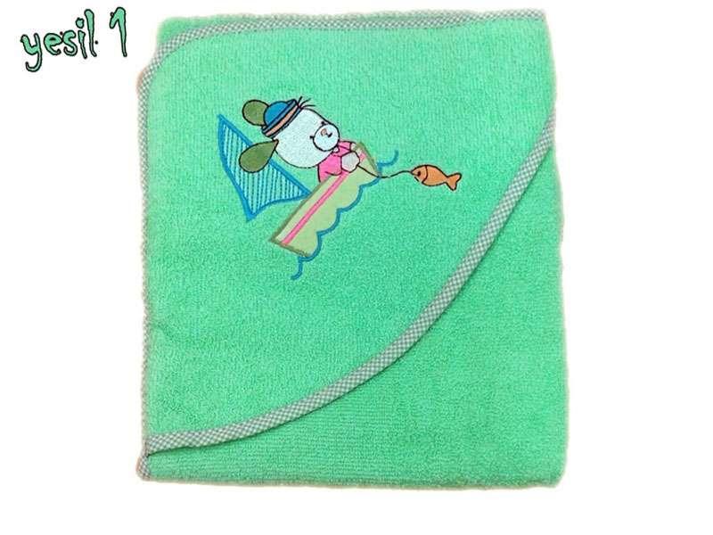 Bebek Banyo Havlusu %100 Pamuk Balıkçı Yeşil