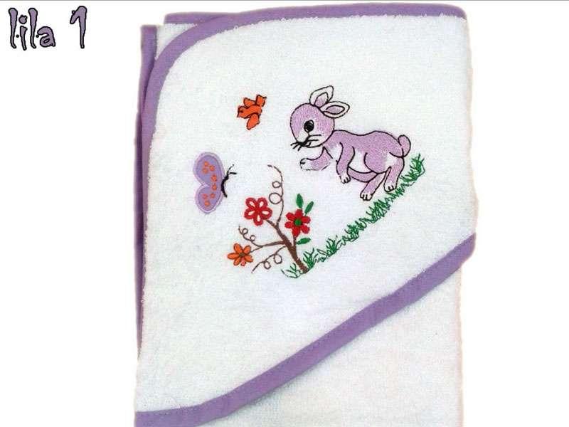 Bebek Banyo Havlusu %100 Pamuk Tavşan Lila