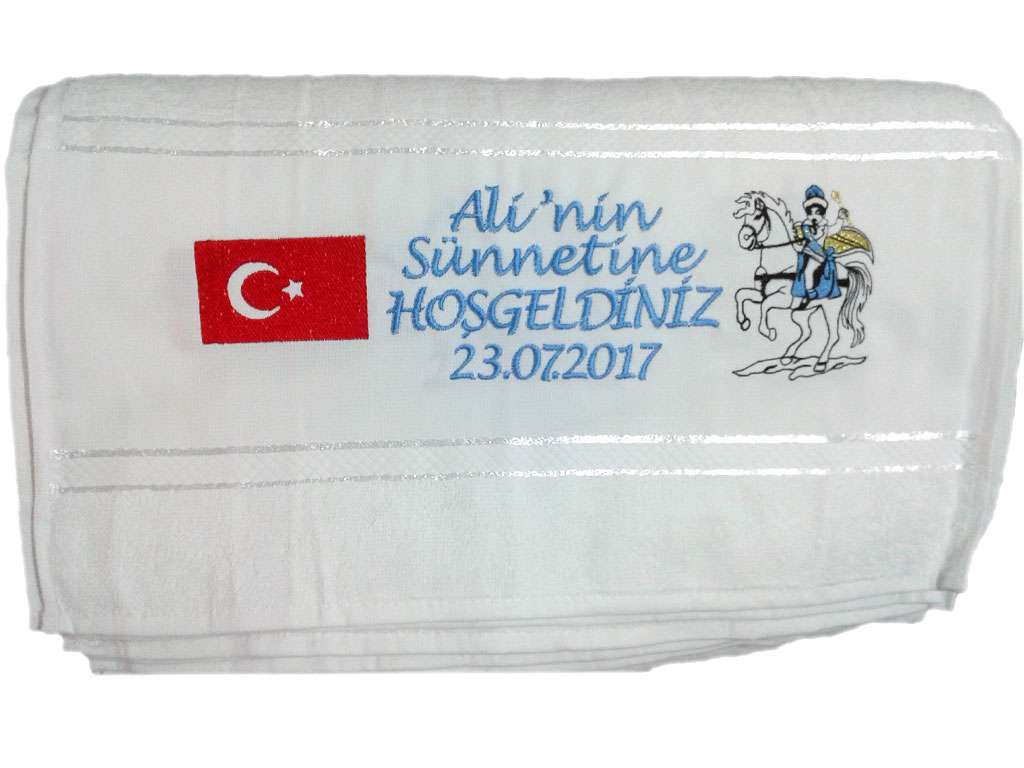 İsme Özel Tasarımlı Sünnet Havlusu 50x80 Yonca  Ali