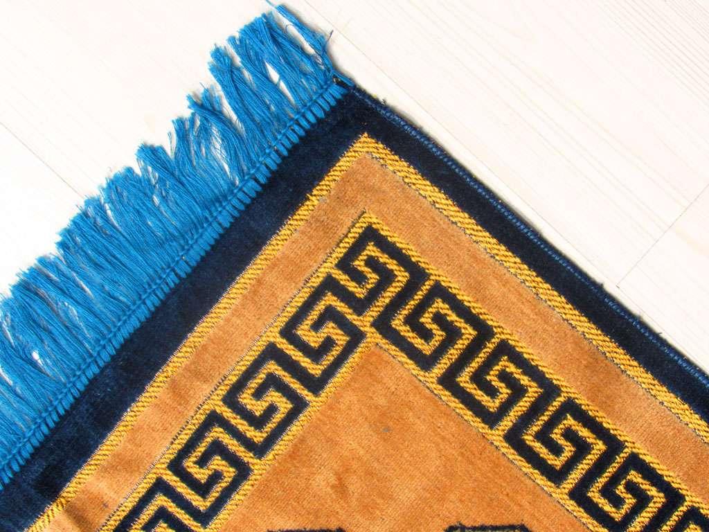 Seccade Lacivert Renkte Desenli Spingel Kadife Hediyelik Seccade