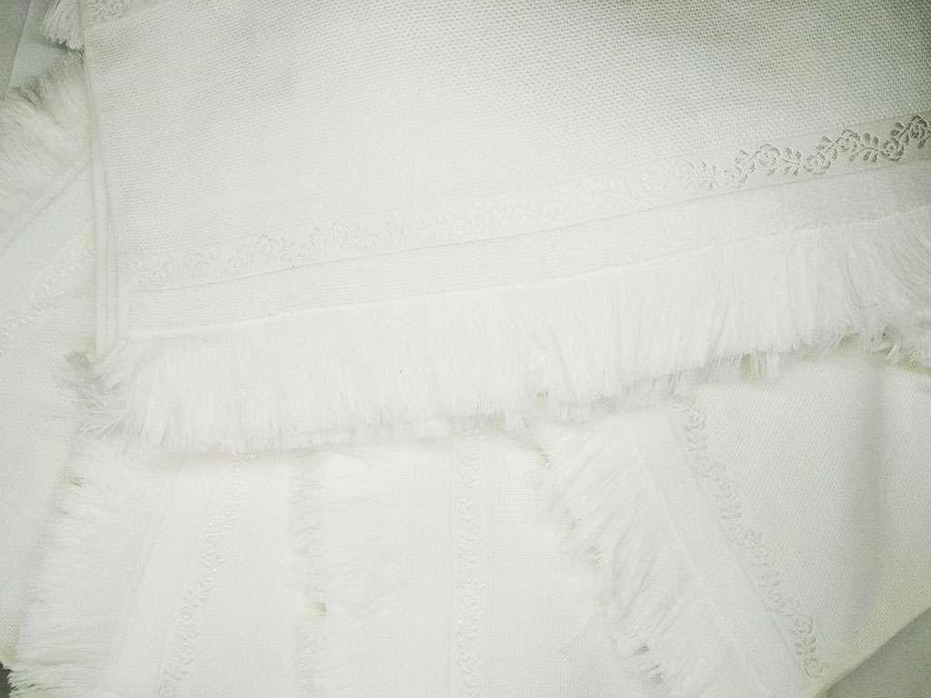 6'lı Fiesta Soft Etaminli Havlu KANAVİÇELİK Beyaz 50X90 El Yüz Havlusu