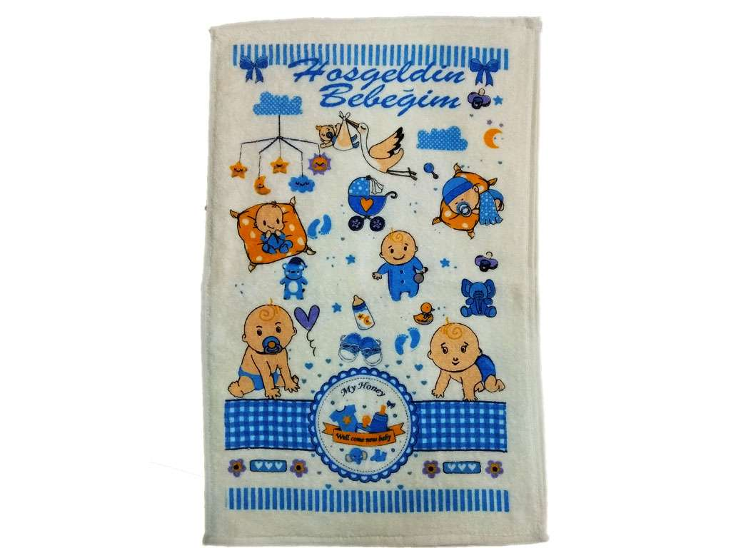 12li 30*50 Kadife Baskılı Mutfak Havlusu Bebek Mavi