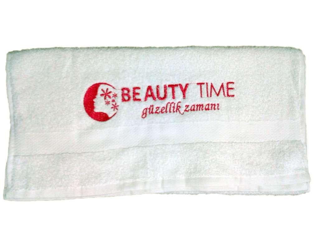 Güzellik Salonu Kuaför Baş Havlusu 50x90 Logolu Beuty Beyaz