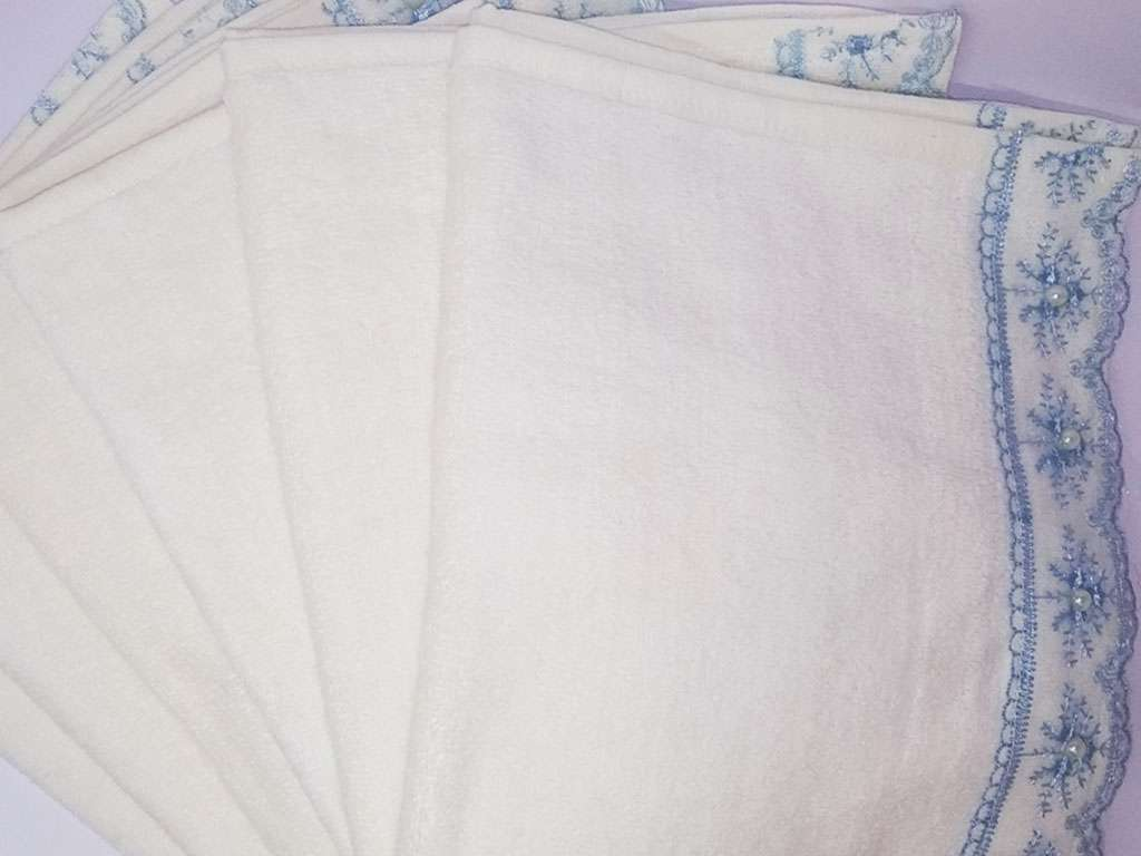 12'li Güpürlü Fistolu 30x50 Kadife Mevlüt Havlusu Mavi
