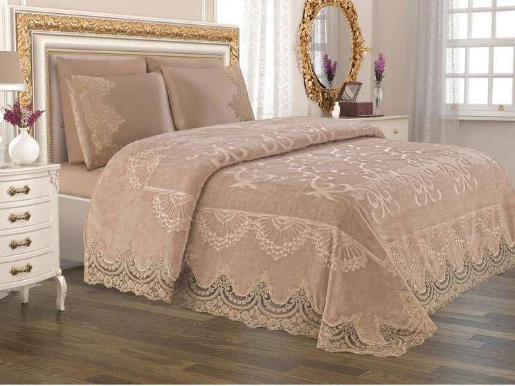 Anna Karina Home Battaniyeli Set İpek Ekru