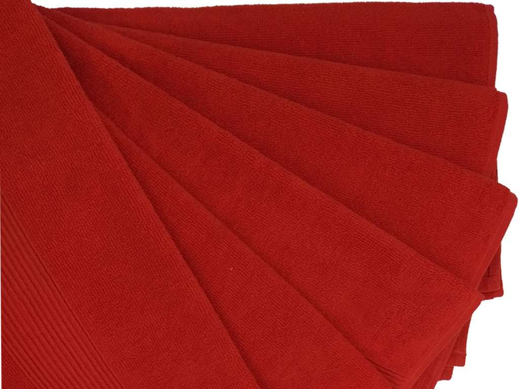 12'li Nurpak Kırmızı Ağır Kuaför Havlusu Berber Havlusu
