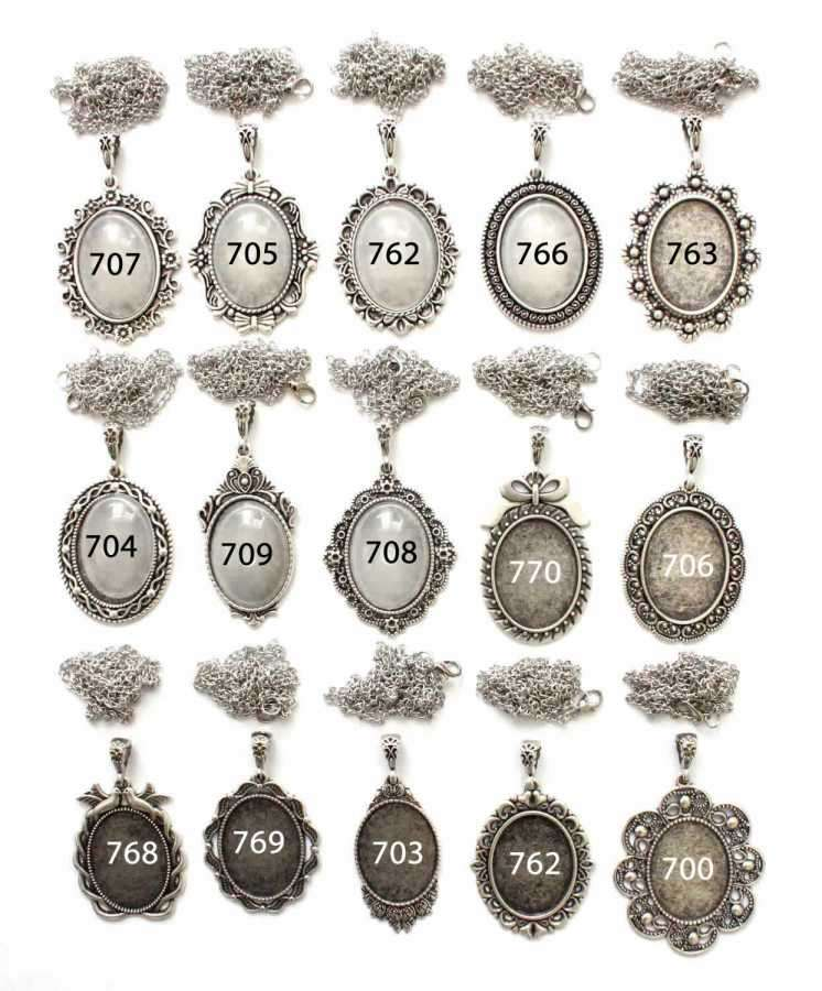 Set 33: 26-34 mm Oval Gümüş Kaplama Kolye Aparatı Seti