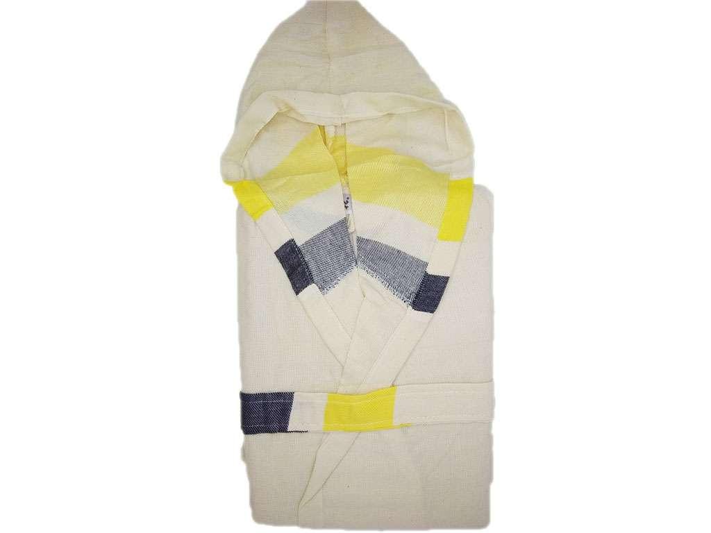 Kapüşonlu Peştemal Bornoz %100 Pamuk Natura Soft Kiss Sarı Lacivert