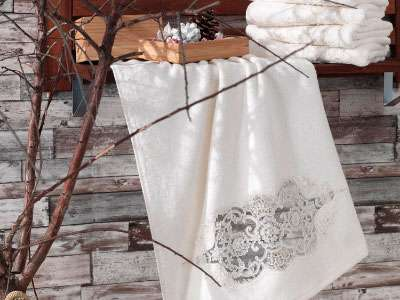 6'lı Dantela Vita Delik-İş Fransız Güpürlü Bamboo 50*90 Havlu