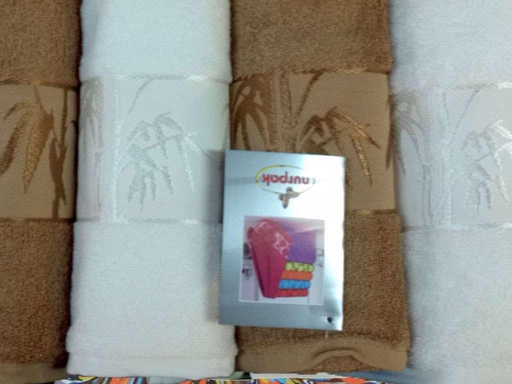 Nurpak Banyo Bamboo 4'lü Havlu Set 2 Baş 2 Duş Kahve Beyaz Renk
