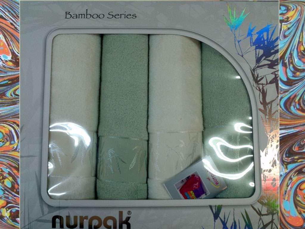 Nurpak Banyo Bamboo 4'lü Havlu Set 2 Baş 2 Duş Yeşil Beyaz Renk