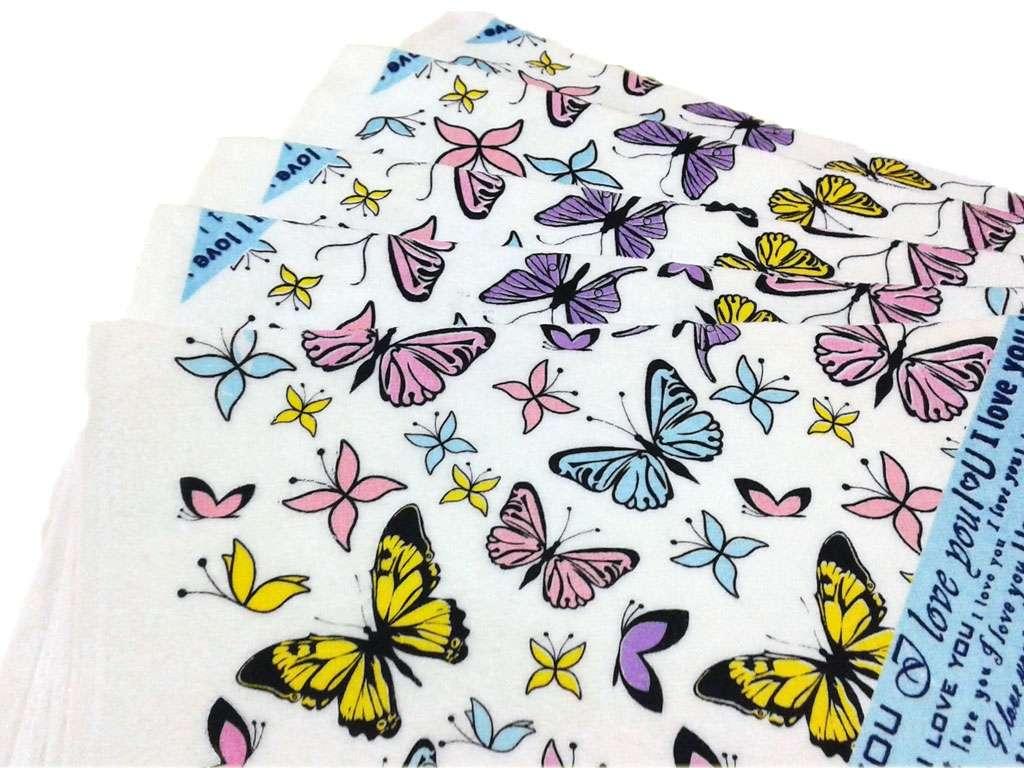 12li 40*60 Kadife Baskılı Mutfak Havlusu Kelebekler