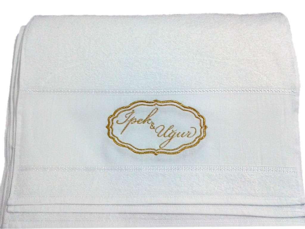 Düğün Hediyelik Dağıtmalık Kişiye Özel İsim Yazılı  50x80 Osmanlı Bursa İmalat Havlu