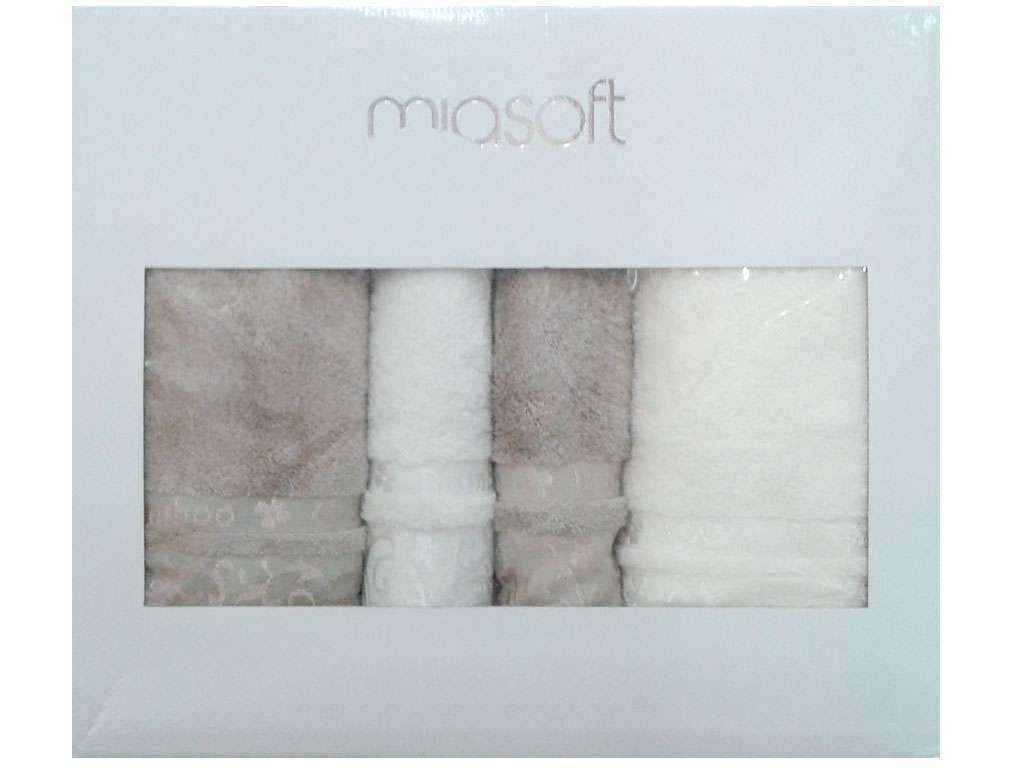 Pupilla Banyo Miasoft Bamboo 4'lü Havlu Set 2 Baş 2 Duş  Kahve-Beyaz Renk
