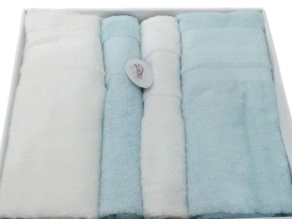 Pupilla Miasoft Banyo Bamboo 4'lü Havlu Set 2 Baş 2 Duş Mavi-Beyaz