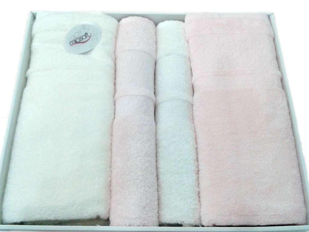 Pupilla Miasoft Banyo Bamboo 4'lü Havlu Set 2 Baş 2 Duş Pembe-Beyaz