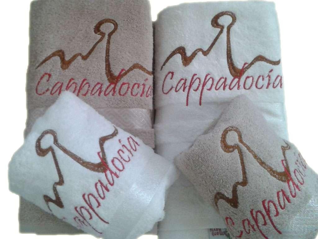 Şehir Logolu 2 Duş 2 Baş  Bamboo Havlu Takımı Kapadokya Hatırası