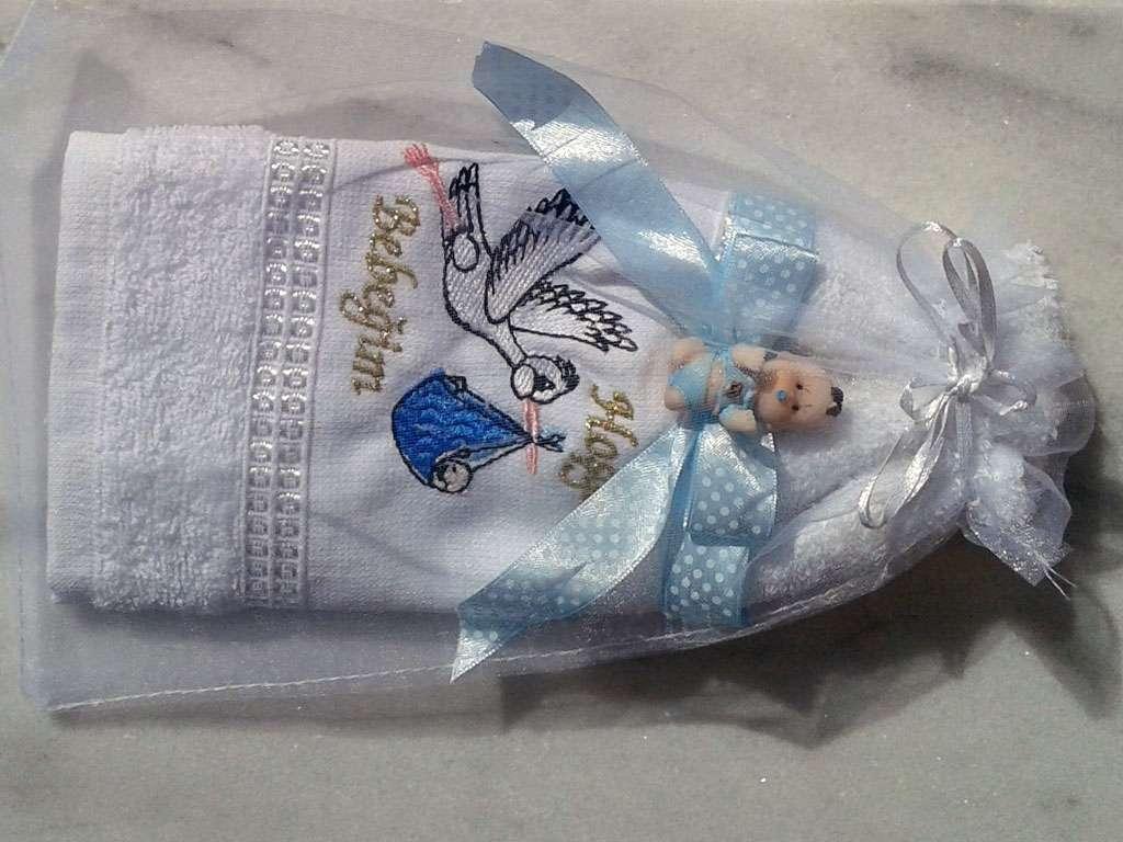 Leylekli Bebek Havlusu Biblo Süslü Keseli