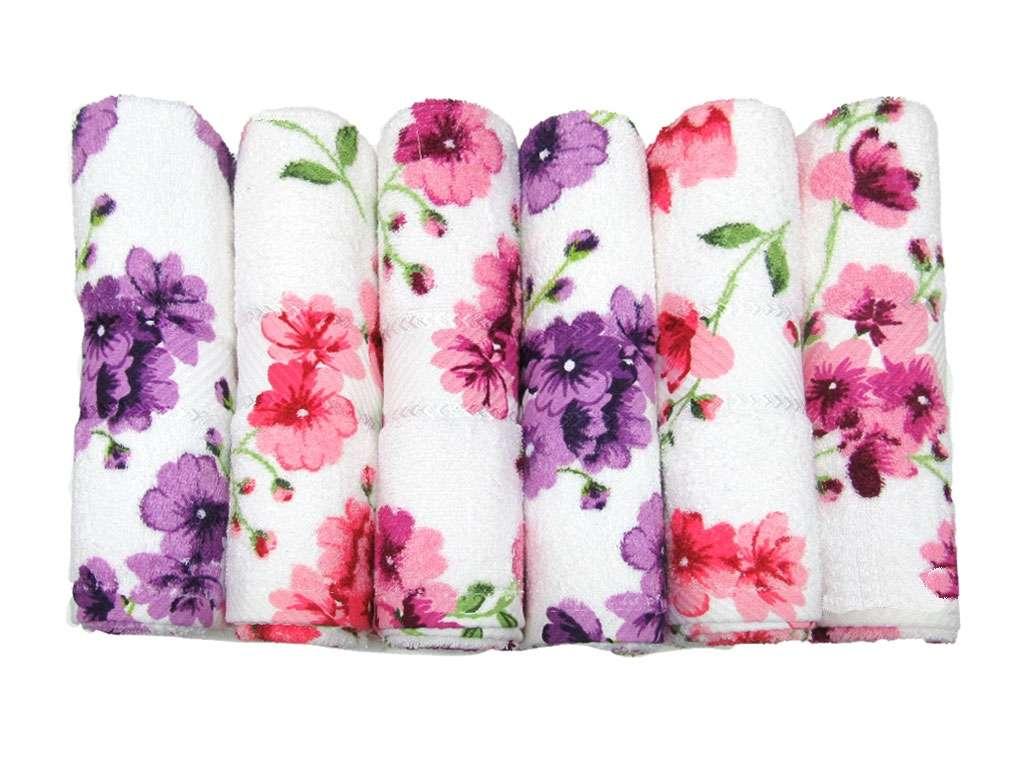 12'li Emprime Baskılı Çiçekli Havlu