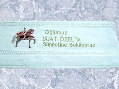 Sünnette Dağıtmalık Kişiye Özel İsim Yazılı 50x90 Kadife Lüks