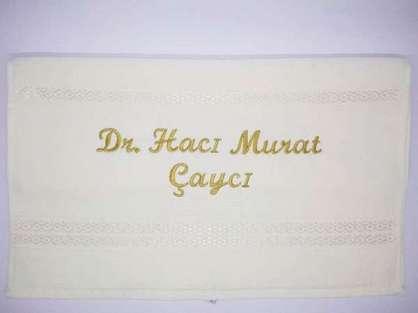 İsme Özel Havlu  50x90 El Yüz Havlusu DR Hacı Murat Beyaz